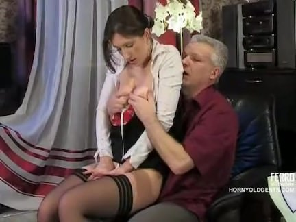 Old cock fucks young Russian maid