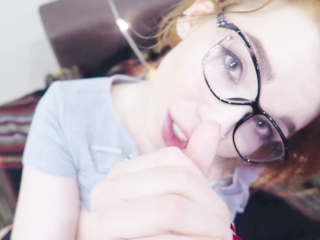 Nerdy Teen Fully Load of Cum After Deepthroat Blowjob
